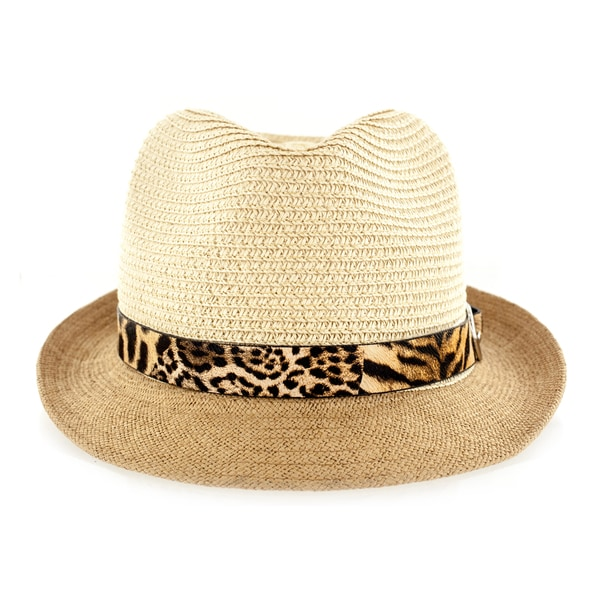 dbd088acc7d Faddism Men  x27 s Fashion Fabric Straw-weave Fedora Hat with Leopard  Leather