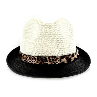 Faddism Men's Fashion Fabric Straw-weave Fedora Hat with Leopard Leather And Silver Buckle Trim