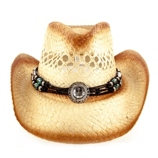 Faddism Fashion Fabric Straw Weave Cowboy Hat With Silver And Stone Adorned Tassel Trim