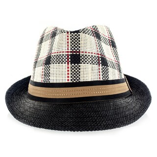 Faddism Fashion Black with Brown Trim Fabric Straw Weave Fedora Hat