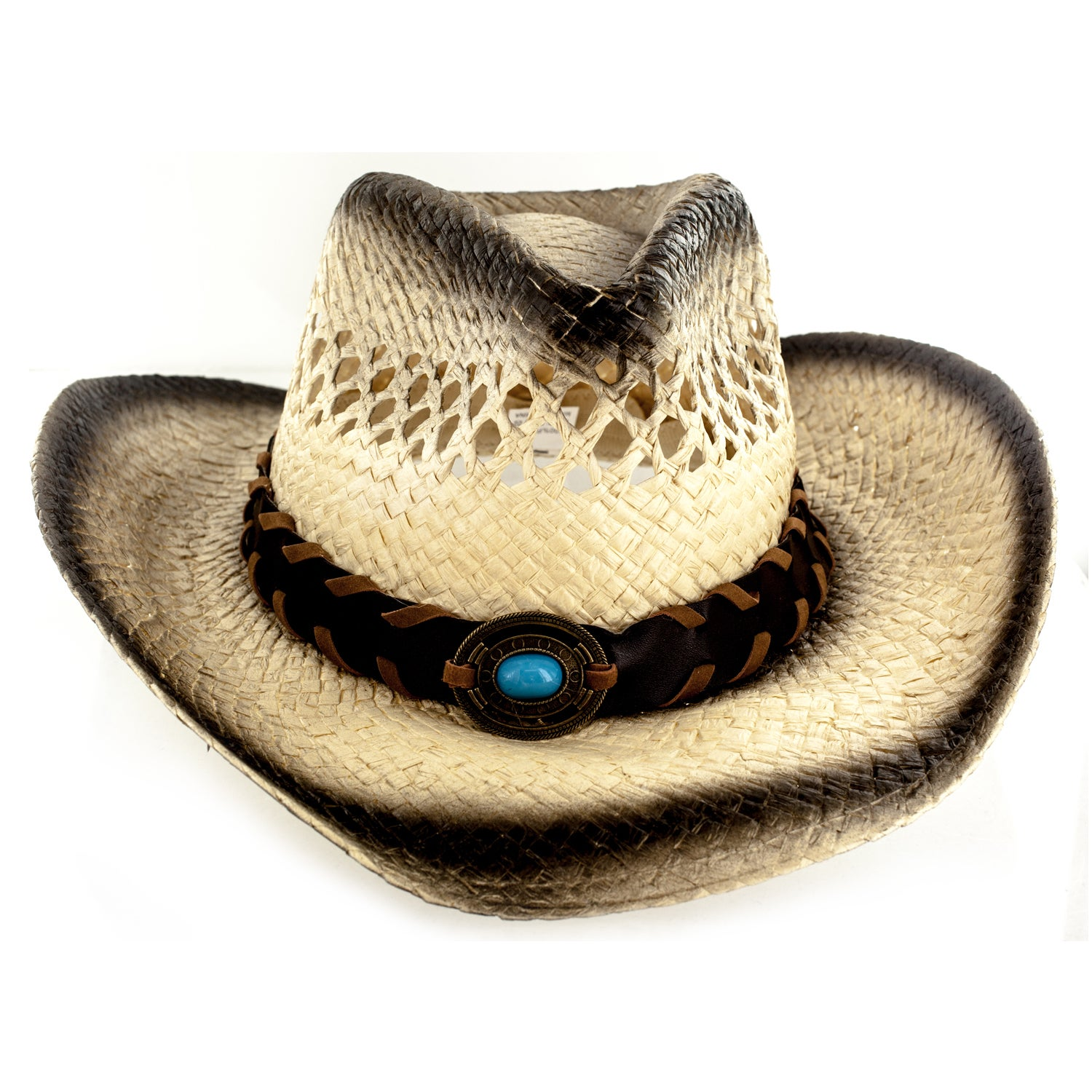f65bf32fa1b Details about Faddism Tan Cotton Polyester Straw Custom-made Cowboy Hat  with Leather Trim and