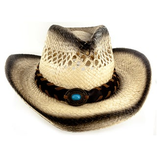 Faddism Tan Cotton/Polyester/Straw Custom-made Cowboy Hat with Leather Trim and Emblem