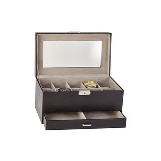 10-piece Black Leather Watch and Cufflink Box