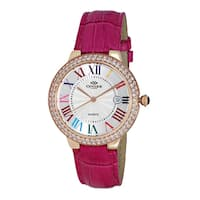 Oniss Paris ON3322 Ladies' Rosetone/White-multi/Pink Swiss Stainless Steel and Leather Timepiece