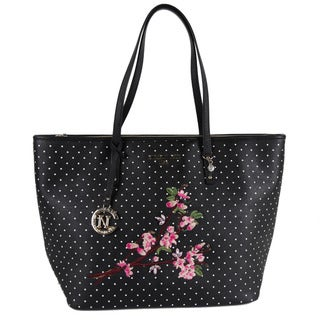 Nicole Lee Kayley Black Nylon/Faux Leather Floral Embellishment Shopper Tote Bag