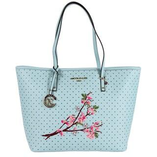 Nicole Lee Kayley Blue Floral Embellishment Shopper Tote Bag