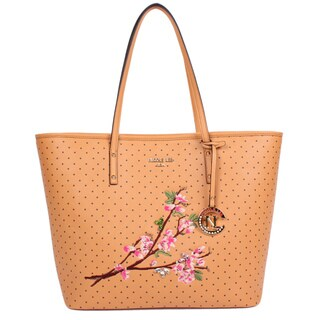 Nicole Lee Kayley Camel Nylon/Faux Leather Floral Embellishment Shopper Tote Bag