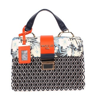 Nicole Lee Dream Faux Leather/Nylon Flower Print Mini Handbag