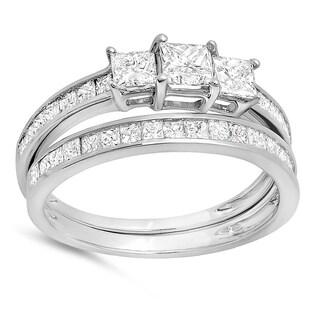 14k White Gold 1 3/4ct TW Princess Diamond Bridal 3-stone Matching Wedding Band Set (H-I, I1-I2)