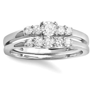 Elora 14k Gold 1/2 TW Round White Diamond Engagement Bridal Ring Set (H-I, I1-I2)