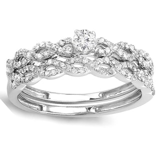 Elora 14k White Gold 1/2ct TW Round-cut Diamond Bridal Engagement Ring Matching Wedding Set (H-I, I1-I2)