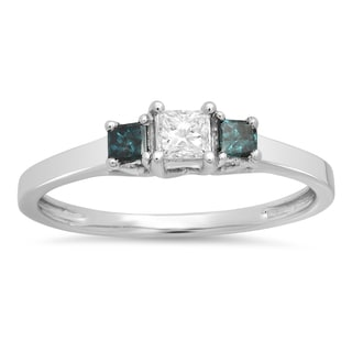 Elora 10k Gold 1/2ct TW Princess-cut Blue and White Diamond Bridal 3-stone Engagement Ring