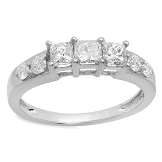 Elora 14k Gold 1ct TW Princess and Round-cut Diamond Anniversary Wedding Band Stackable Ring (I-J, I1-I2)