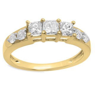 elora 14k gold 12ct tw princess cut diamond anniversary wedding curved band stackable - Stackable Wedding Rings