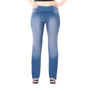 Bluberry Women's Light Wash Plus Size Straight Leg Denim