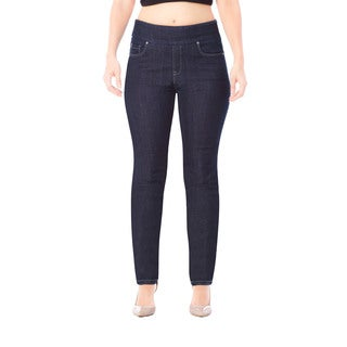 Bluberry Women's Blue Rinse Wash Plus Size Slim Leg Denim Jeans