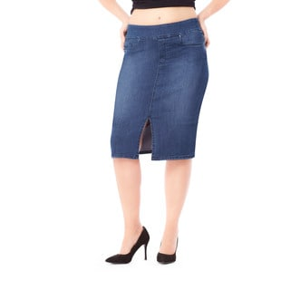 Bluberry Women's Nicole Medium Wash Plus-size Denim Skirt