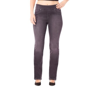 Bluberry Women's Georgia Black Plus-size Straight-leg Denim Pants