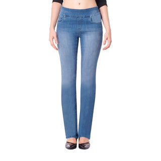 Bluberry Women's Light Wash Straight-leg Denim Jeans