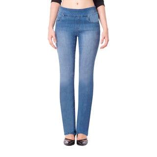 Bluberry Women's Light Wash Straight-leg Denim Jeans (Option: 36 Inch)