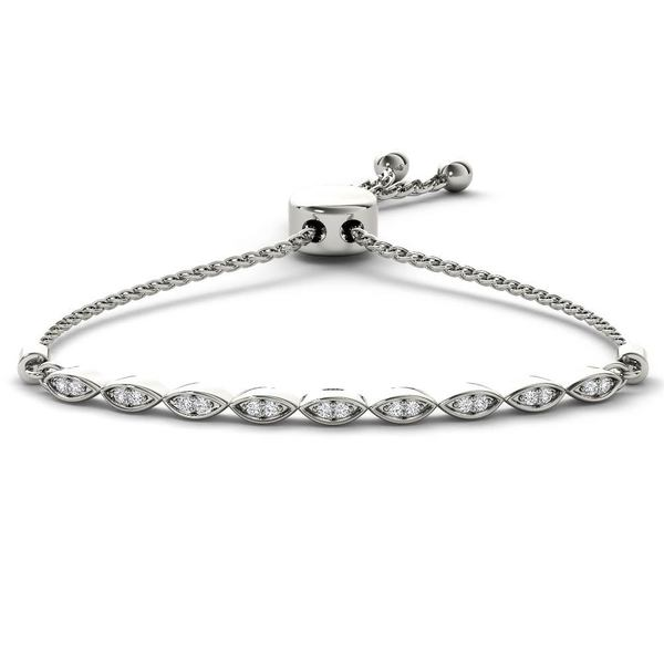 De Couer S925 Sterling Silver 1/8ct TDW Diamond Adjustable Slider Bracelet