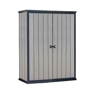 Keter High Store Resin Grey Wood-look Outdoor Vertical Garden Storage Shed