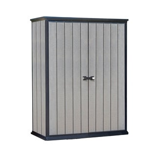 Keter High Store Grey Wood-Look Outdoor Vertical Garden Storage Shed