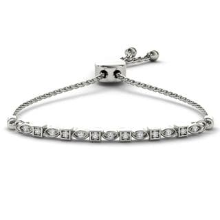 De Couer S925 Sterling Silver 1/8ct TDW Diamond Adjustable Slider Bracelet (H-I, I2)