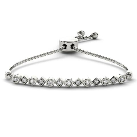 IGI Certified S925 Sterling Silver 1/8 ct TDW Diamond Adjustable Bracelet - Bolo Bracelet