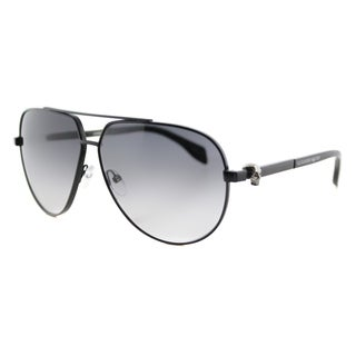 Alexander McQueen AM 0018S 001 Skull Pilot Frame Ruthenium Black Metal Aviator Grey Lens Sunglasses