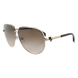 Alexander McQueen AM 0018S 002 Skull Pilot Frame Light Gold Havana Metal Aviator Brown Gradient Lens Sunglasses