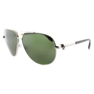 Alexander McQueen AM 0018S 003 Skull Pilot Frame Silver Havana Metal Aviator Green Lens Sunglasses