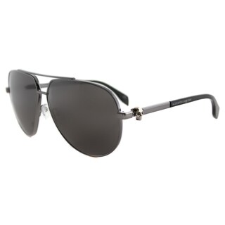 Alexander McQueen AM 0018S 004 Skull Pilot Frame Ruthenium Black Metal Aviator Grey Lens Sunglasses