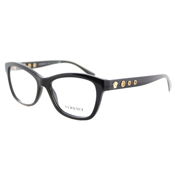 a8aed8b783be Versace VE 3225 GB1 Black Plastic 54-millimeter Cat-eye Eyeglasses