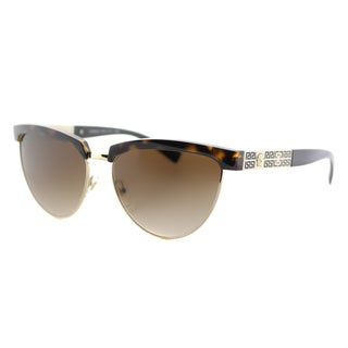 Versace VE 2169 125213 Havana Pale Gold Plastic Cat-Eye Brown Gradient Lens Sunglasses