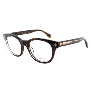 Alexander McQueen Havana Crystal Plastic Square 47-millimeter Eyeglasses