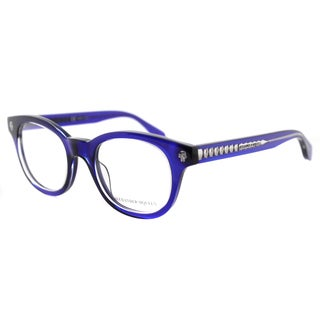 Alexander McQueen AM 0027O 004 Blue Crystal Plastic Square Eyeglasses