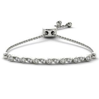 De Couer S925 Sterling Silver 1/8ct TDW Diamond Adjustable Slider Bolo Bracelet (H-I, I2)