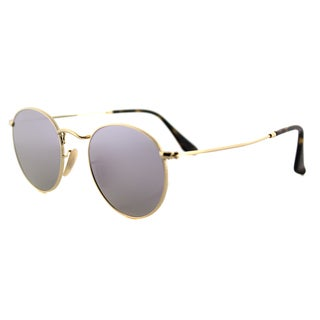 Ray-Ban RB 3447N 001/8O Gold Metal 50mm Round Sunglasses With Wisteria Flat Flash Lens