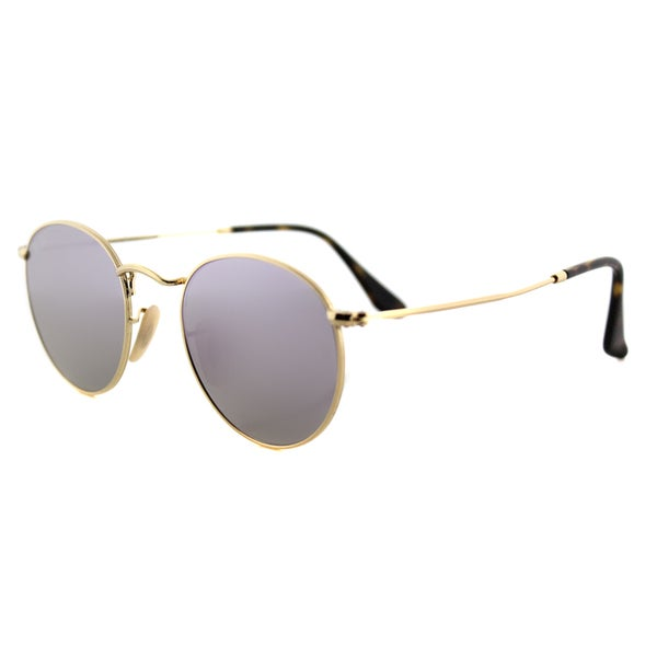 aa600f1e47 Ray-Ban RB 3447N 001 8O Gold Metal 50mm Round Sunglasses With Wisteria Flat