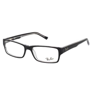 Ray-Ban Black on Crystal Plastic Rectangle Eyeglasses