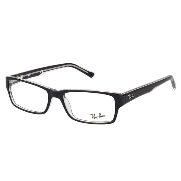 d2cfe0a03abf6 Shop Ray-Ban Black on Crystal Plastic Rectangle Eyeglasses - Ships ...