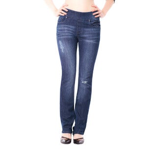 Bluberry Women's Emma Medium Wash Straight-leg Denim Jeans