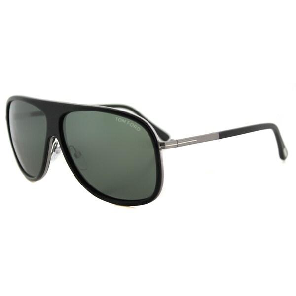82666efa49 Tom Ford TF 462 02N Chris Matte Black Plastic Aviator Green Lens Sunglasses