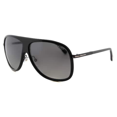 Tom Ford TF 462 01D Chris Black Plastic Aviator Grey Gradient Polarized Lens Sunglasses