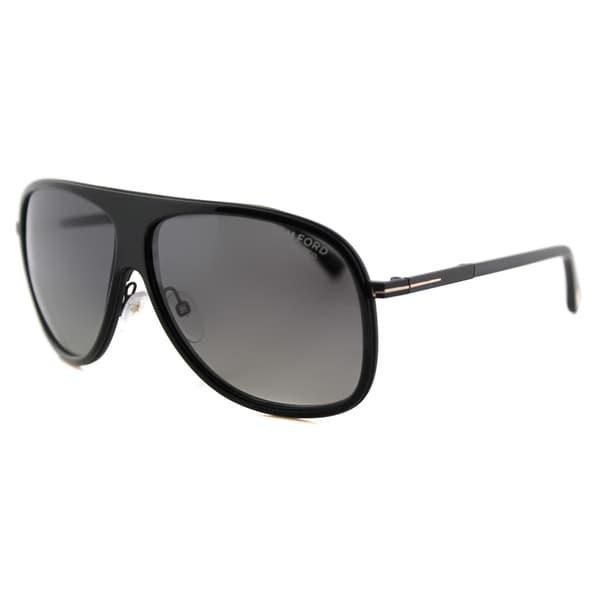 2ad082d79c17 Tom Ford TF 462 01D Chris Black Plastic Aviator Grey Gradient Polarized  Lens Sunglasses