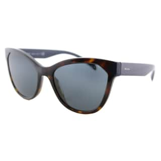 Prada PR 21SS 2AU2K1 Havana Plastic Cat-Eye Dark Blue Lens Sunglasses