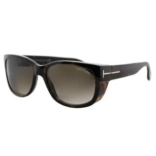 Tom Ford TF 441 52K Carson Dark Havana Plastic Rectangle Brown Gradient Lens Sunglasses