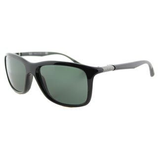 Ray-Ban Black Plastic Sport Sunglasses with Green Lens