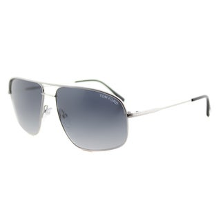 Tom Ford TF 467 17W Justin Navigator Palladium Grey Metal Aviator Grey Gradient Lens Sunglasses